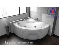 Bồn tắm góc Việt Mỹ 12S acrylic không chân yếm