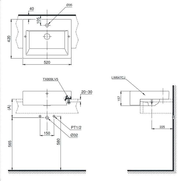 Bản vẽ nắp bồn cầu điện tử TOTO TCF4732A (W5)